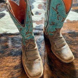 Dan Post floral zipper turquoise square toe boots